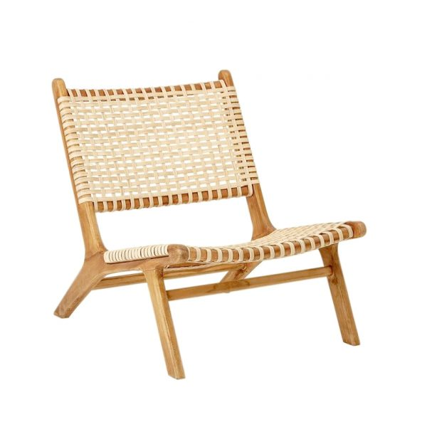 teak and rattan lounge chair